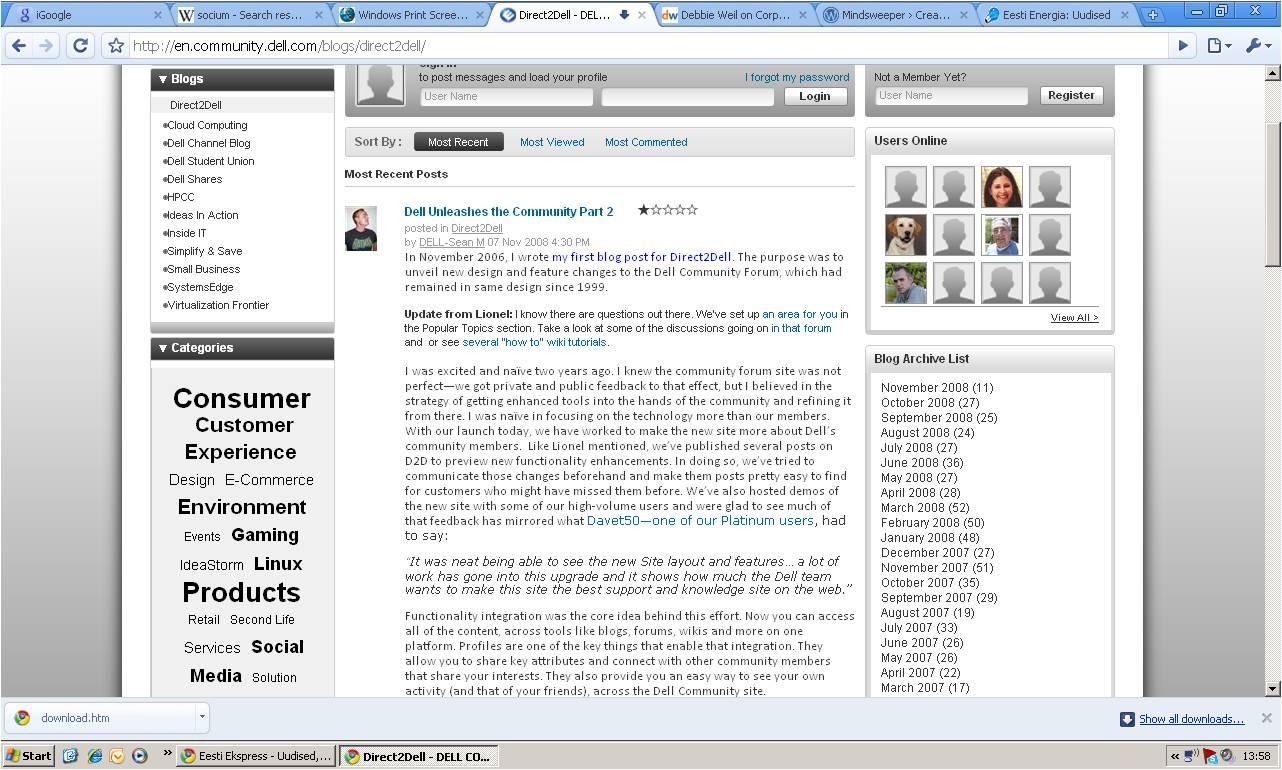 Arvutitootja Dell blogi firma koduleheküljel.