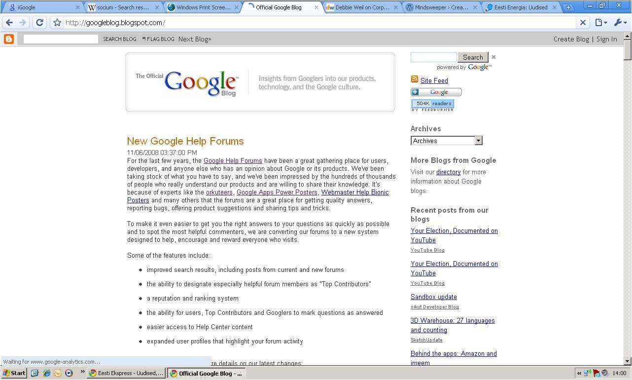 Google blogi firma koduleheküljel.