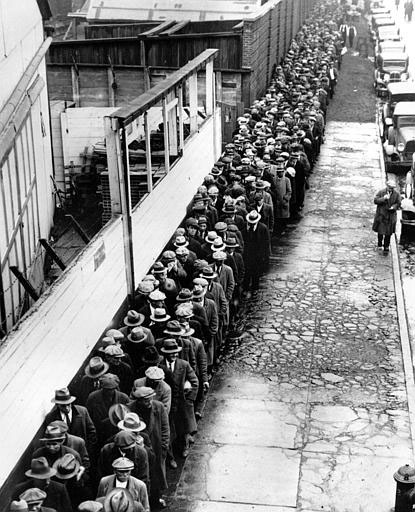 Leivajärjekord USAs 30ndate alguses, majanduskriisi ajal.